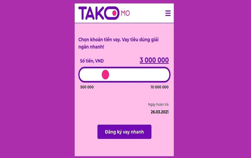 Hướng dẫn vay tiền Takomo